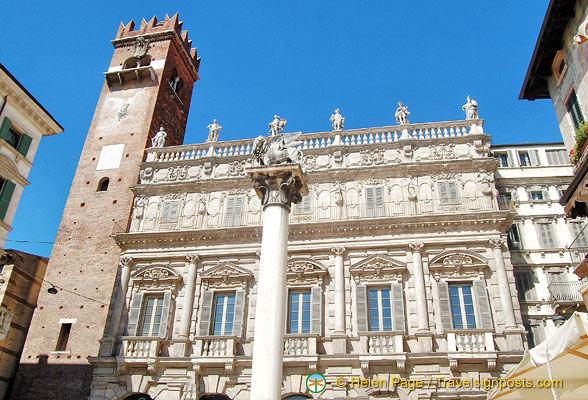 Palazzo Maffei at the northern end of Piazza Erbe with Gardello Tower on its left
