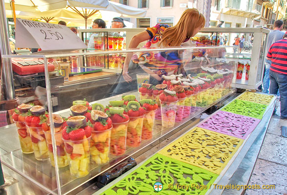 Fruit salad at the Piazza Erbe market