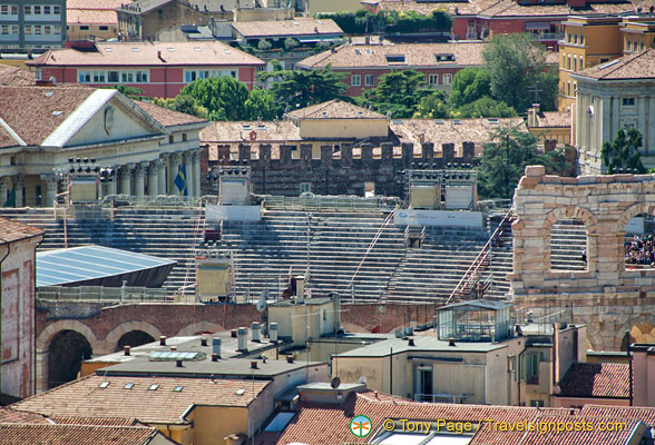 A glimse inside the Verona arena from the Torre dei Lamberti