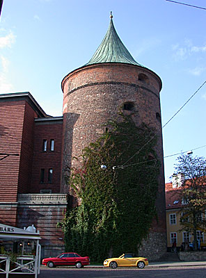 The 14th century 'Pulvertornis' (Powder Tower), was once a gunpowder store, prison and torture chamber