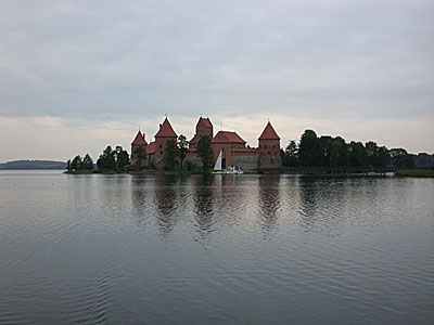 Trakai Castle sits on an island in Lake Galvė