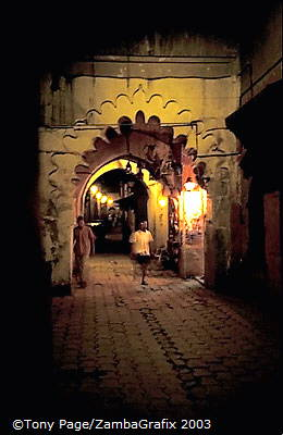 Marrakesh souk at night