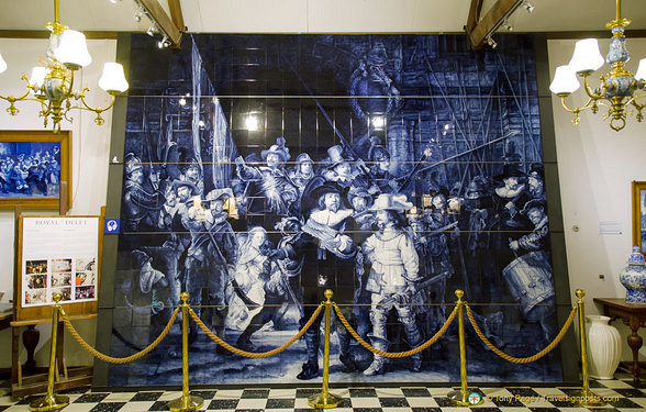 Rembrandt's Night Watch in Delft tiles