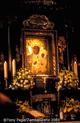 The icon of Our Lady of Czestochowa displayed in the Chapel of the Black Madonna