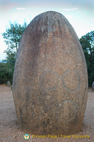 Perfect egg-shaped stone with engravings