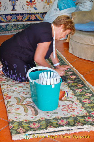 This lady was treating a newly made Arraiolos carpet