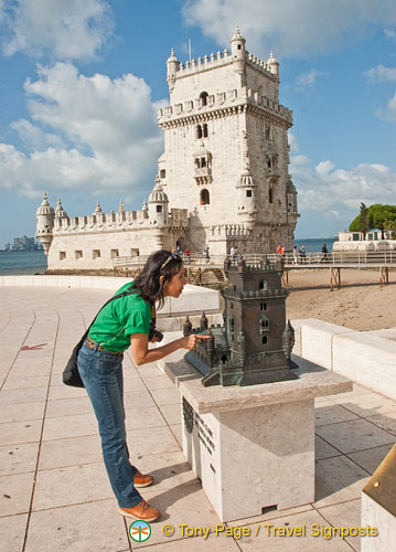 Checking out the model of the Belem Tower