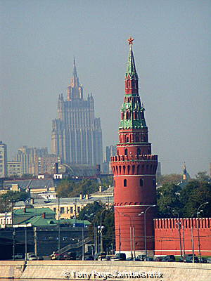 The Kremlin tower and the old Palace of Culture in the shadow
