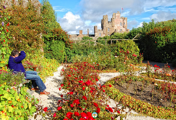 Tony photographing the Castle of Mey from the Queen Mother's bench