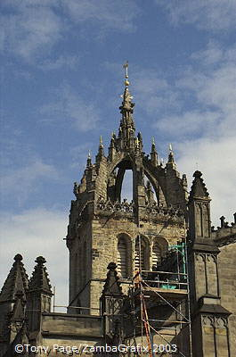 The famous crown spire of St Giles Cathedral [Edinburgh - Scotland]