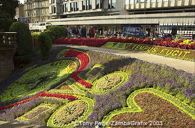 The clock was studded with hundreds of lobelias and sempervivums [Edinburgh - Scotland]
