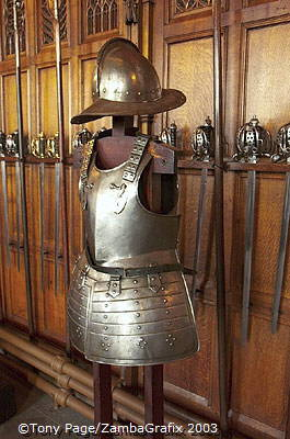 Collection of armour and weapons in the Great Hall