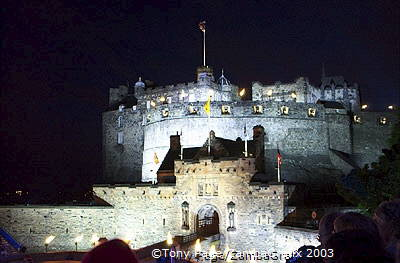 Edinburgh Castle silhouetted against the night skies