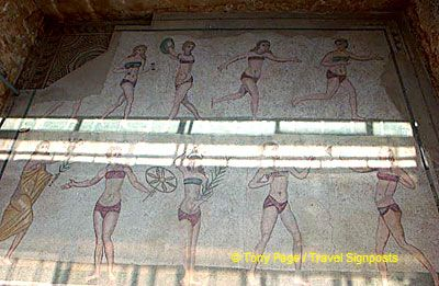Very interesting bikini-clad girls at Villa Romana del Casale