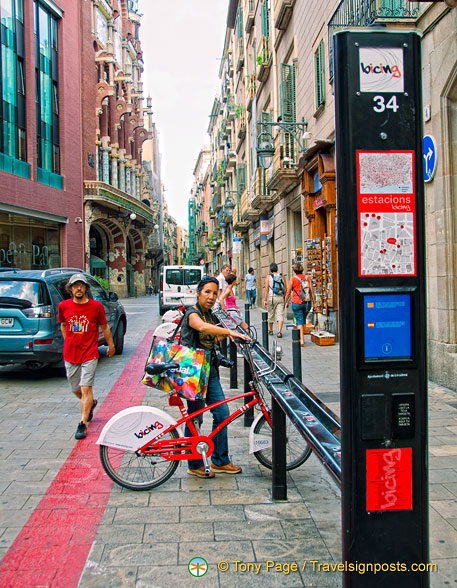 A Barcelona Bicing station in front of the Palau de la Musica
