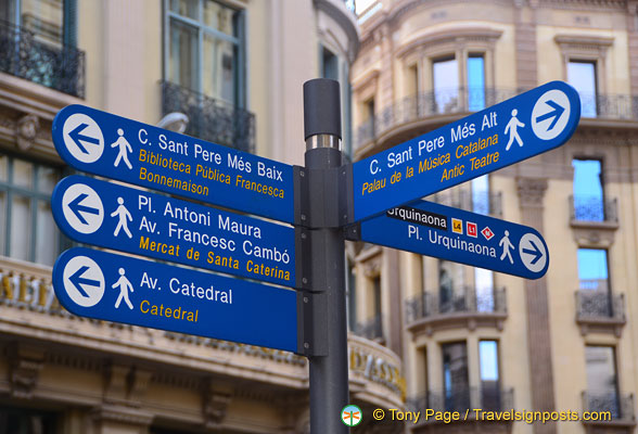 Signpost for Barcelona attractions