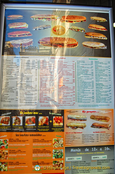 The huge sandwich menu at Conesa