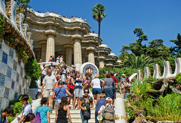 The very colourful entrance stairway section of Parc Güell