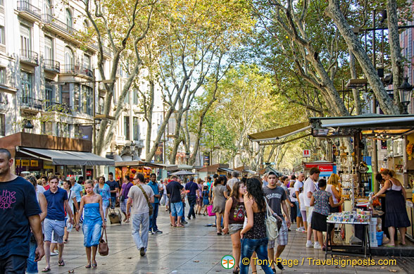 Las Ramblas, always bustling with visitors