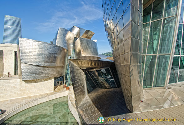 Guggenheim Bilbao: The Guggenheim's exterior is covered in glass, titanium and limestone.