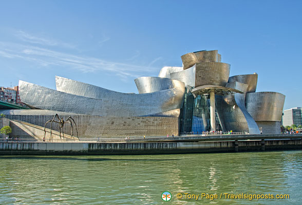View of Guggenheim Museum from across the Nervion River
