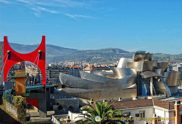 The Red Arches and the Guggenheim with Mt Artxanda in the background