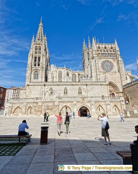 View of Burgos Cathedral from Plaza del Rey San Fernando