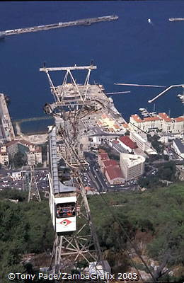 The cable car to the Top Station complex which has a Self Service Restaurant, English Pub and Souvenir Shop [Gibralt