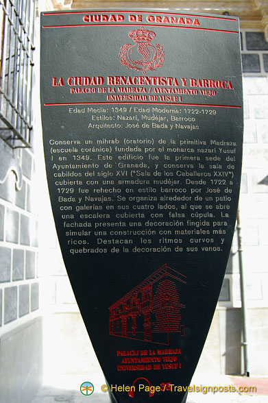 Granada city plaque