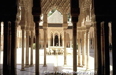 This patio is lined with arcades which are supported by 124 slender marble columns