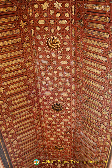 Façade of Comares:  See the intricate ceiling carving