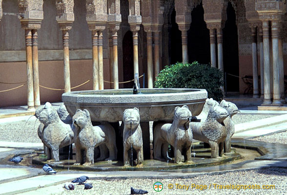 Patio de los Leones: The famous lion fountain in the Palace of the Lions
