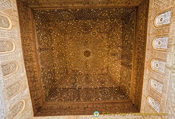The ceilling of the Throne Room represents the seven heavens of the Muslim cosmos