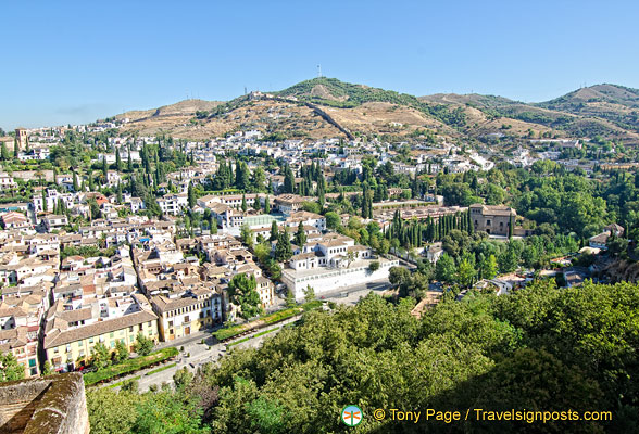 Panoramic view of Granada from the Alhambra
