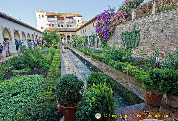Palace of the Generalife: The Court of the Main Canal is a long and narrow court