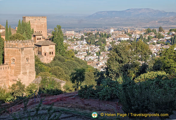 View of the Alhambra towers and Albaicin