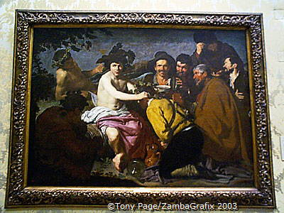 The Triumph of Bacchus (1628) - Velazquez's portrayal of the god of wine with a group of drunkards - The Prado