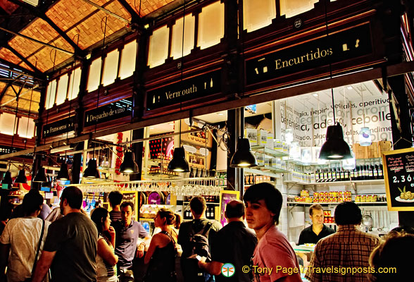 One of the wine bars at the Mercado San Miguel