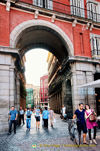 One of the archways of Plaza Mayor