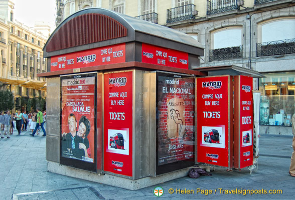 You can buy tickets for shows at this booth on Puerta del Sol