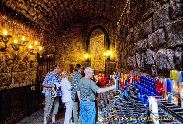 Path of the Ave Maria where pilgrims offer candles on their way out from seeing the Black Madonna