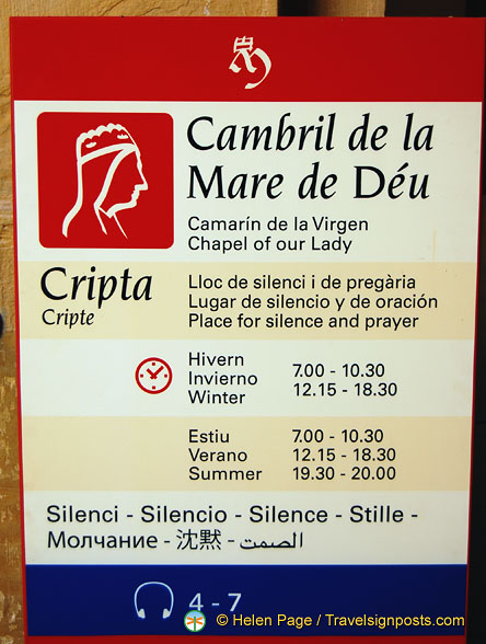 Visiting times for the Chapel of Our Lady