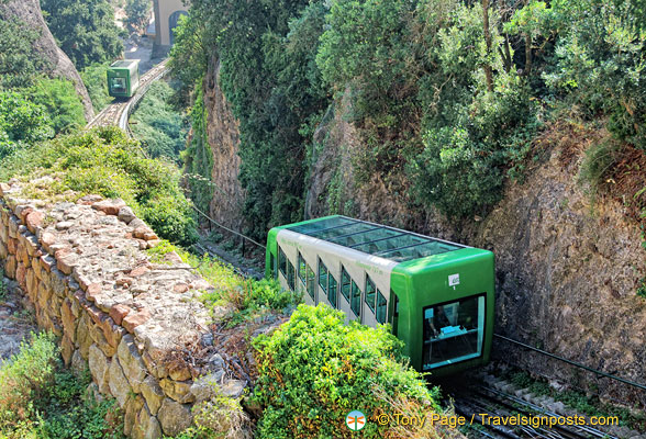 Funicular de Sant Joan connects Montserrat Monastery with the upper terminus of the Montserrat Rack Railway