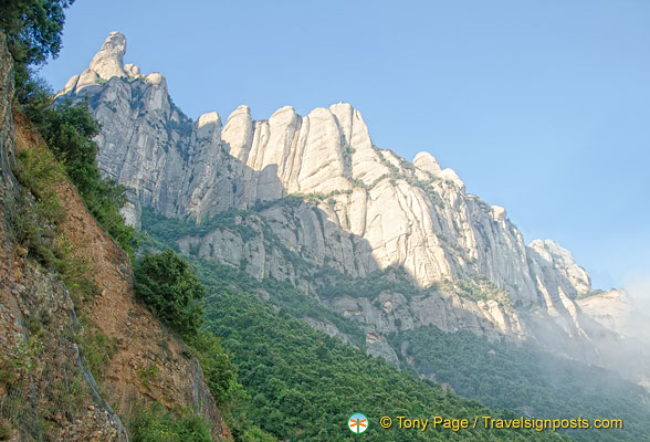 Montserrat, the serrated mountain in view