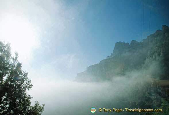 Montserrat is over 1,000 m high so here we are travelling through the clouds
