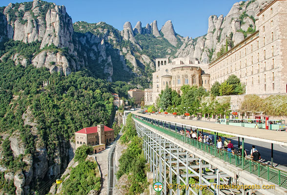 Montserrat Monastery with the Cable Car station on the cliff-side