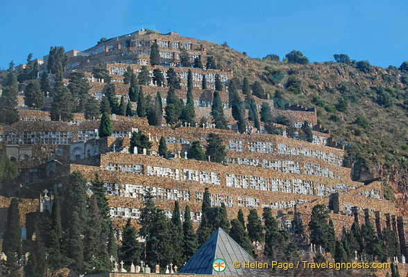 A cliff-side cemetery on the way to Montserrat