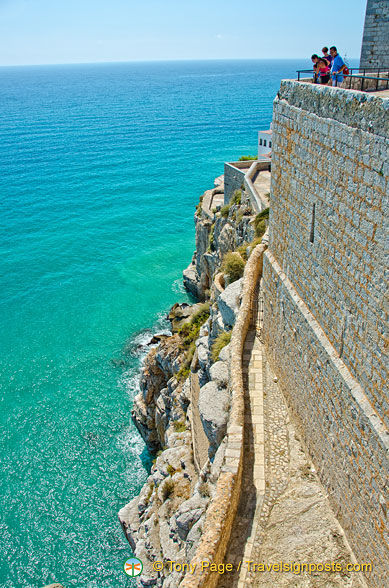 It's a steep drop from Peñíscola Castle to the water