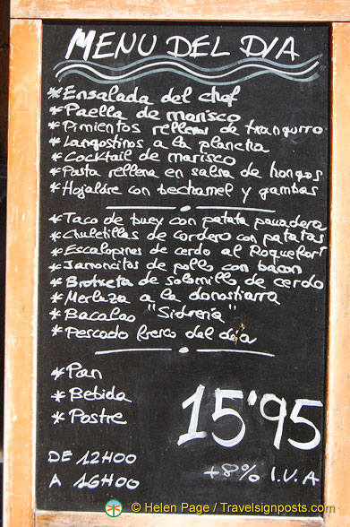 Menu of the Day at Casa Alcalde