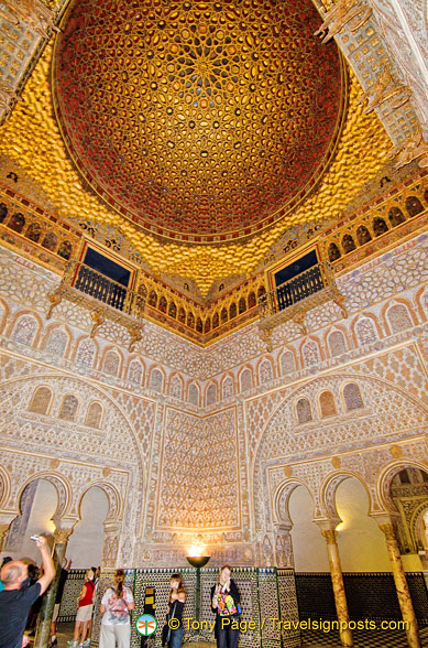 The magnificent gold-gilded dome of the Salon de Embajadores